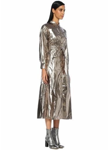 Jovonna Beverly Metalik Bronz Polo Yaka Elbise Bronz
